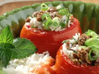 Stuffed Tomatoes with Lamb and Feta Cheese