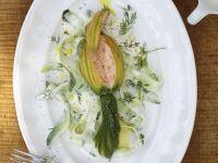 Stuffed Zucchini Blossoms with Dill-Yogurt Sauce recipe