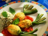 Stuffed Zucchini Blossoms with Tomato Sauce and Basil Rice recipe