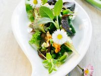 Summer Salad with Vegetables and Daisies recipe