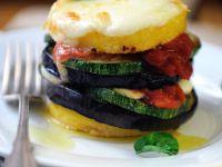 Summer Vegetable, Polenta and Mozzarella Tower