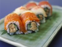 Sushi Rolls with Salmon, Tuna and Cucumber recipe