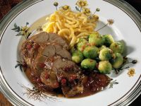 Sweet and Sour Rabbit Leg with Brussels Sprouts and Spaetzle recipe