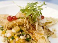 Sweet Corn Relish and Zucchini Blossoms recipe