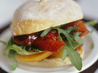 Sweet Potato Burger with Arugula, Chorizo and Fig Chutney recipe