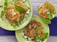 Sweet Potato Fritters on Dandelion Greens