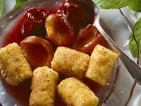 Sweet Semolina Croquettes with Plum Compote recipe