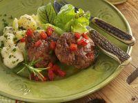 Swiss-Style Meatballs with Potato Salad recipe