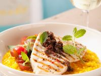 Swordfish Steaks with Black Olive Tapenade and Rice recipe