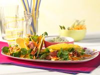 Tacos Filled with Vegetable Salad and Beef Steak Strips recipe
