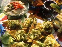 Tacos with Potato Salad and Peanut Dip recipe
