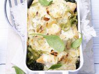Tagliatelle and Fish Gratin Dish recipe