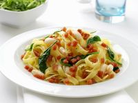 Tagliatelle with Bacon, Beans and Spinach recipe