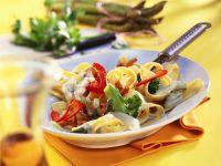 Tagliatelle with Vegetables and Cream Sauce recipe