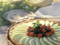 Tart with Vanilla Cream and Melons recipe