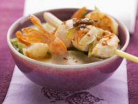 Thai Coconut Soup with Shrimp and Lemongrass Chicken Skewer recipe