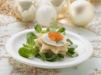 Toast Stars with Sour Cream, Caviar and Mache recipe
