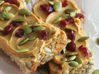 Vegan Peanut Butter Slices with Fruit and Seeds recipe