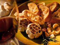 Toasted Baguette Slices with Roasted Garlic recipe