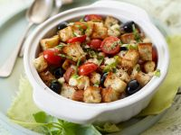 Toasted Bread Cubes with Tomatoes and Olives recipe