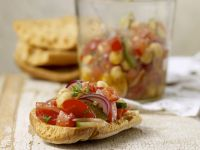 Toasted Bread with Chickpeas, Tomatoes and Cucumbers recipe