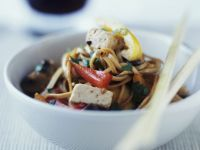 Tofu and Noodle Bowl with Peppers recipe