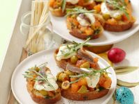 Tomato and Olive Crostini with Mozzarella recipe