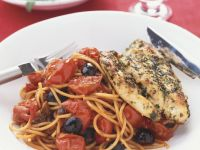 Tomato and Olive Pasta with Chicken recipe
