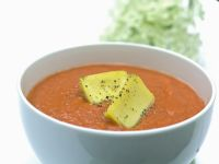 Tomato Gazpacho with Frozen Olive Oil Cubes recipe