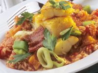 Tomato-leek Rice with Cod Fillets recipe