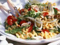 Tomato Noodle Salad with Arugula and Mushrooms recipe