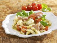 Tomato Salad with Mozzarella, Prosciutto and Pesto recipe