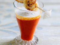 Tomato Soup with Milk Froth and Scallops recipe
