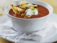 Tomato Soup with Sour Cream and Toasts recipe