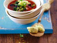 Tomato Vegetable Soup with Semolina Dumplings recipe