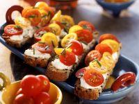 Tomatoes with Cream Cheese on Flatbread recipe