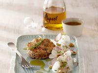 Trout and Avocado Patties with Daikon Radish Salad recipe