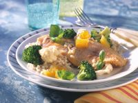 Trout Fillets with Pearl Barley and Vegetables recipe