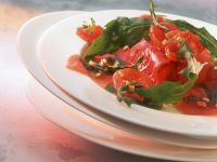 Tuna Carpaccio with Grilled Tomatoes and Arugula recipe