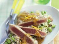 Tuna Steak with Edamame and Rice Salad recipe