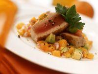 Tuna Steak with Pumpkin and Avocado recipe