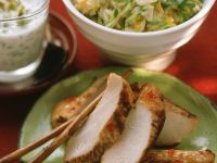 Turkey Breast with Yogurt Dip and Vegetable Rice recipe