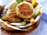 Turkey Cakes with Mixed Vegetables recipe