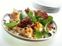 Turkey Cutlets with Arugula, Capers, Lollo Rosso and Pine Nuts recipe