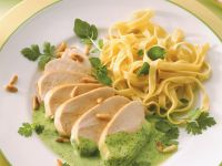 Turkey Fillets with Tagliatelle and Watercress Sauce recipe