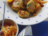 Turkey Fritters with Carrot and Apple Salad recipe