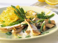 Turkey in Lemon Sauce with Asparagus and Noodles recipe