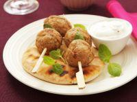 Turkey Meatballs with Yogurt Dip and Pita Bread recipe