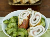 Turkey Rolls with Prosciutto and Braised Cucumbers recipe