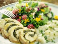 Turkey Roulade with Herb Stuffing, Asparagus and Salad recipe